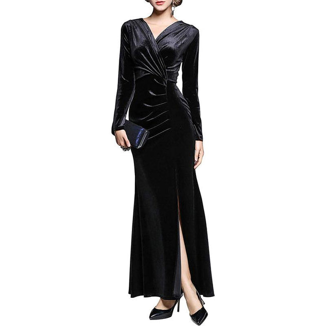 Women's 90s Retro Velvet Evening Gowns Side Slit Long Sleeves