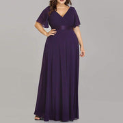 Plus Size Evening Party Maxi Dress A Line Double V Neck Floor Length
