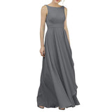 Plus Size Bridesmaid Dress A Line Chiffon Sleeveless Evening Prom Dress