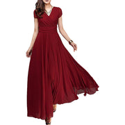 A Line Short Sleeve Bridesmaid Dress Party Evening Cocktail Wedding Pageant Flowy Prom Dress