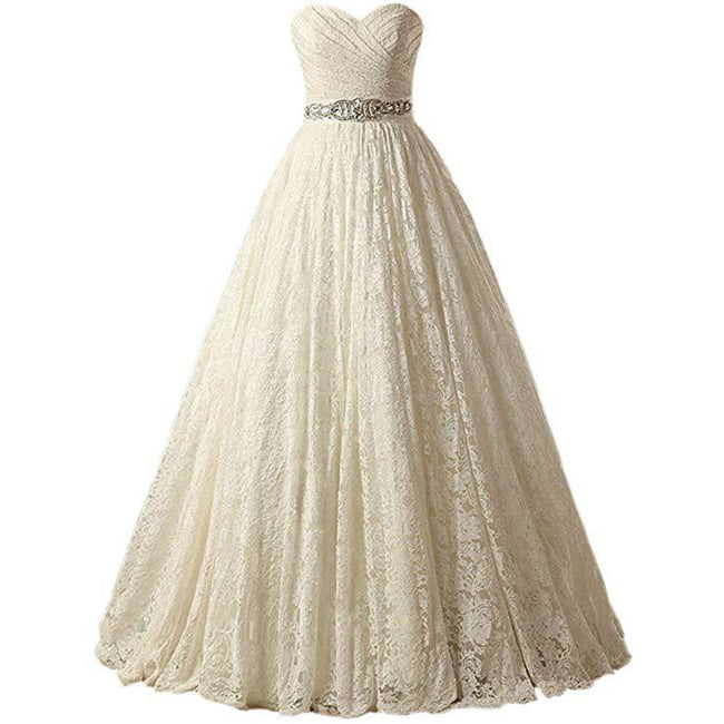 A Line Bridal Gown Lace Strapless Evening Gown Beaded Floor Length