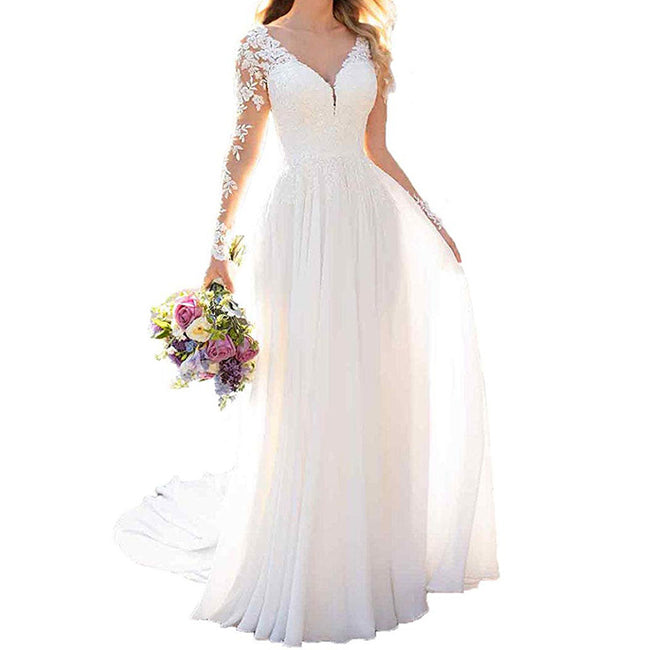 A Line Wedding Dresses Lace Maxi Bridal Gowns Long Sleeves Empire Waist