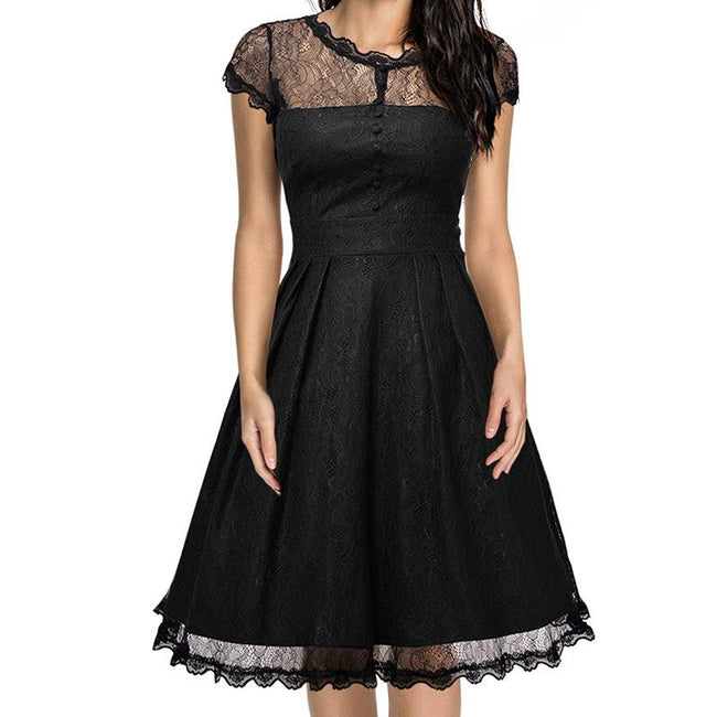 Floral Lace Bridesmaid Dress Retro Prom Party Dress A Line Short Sleeve