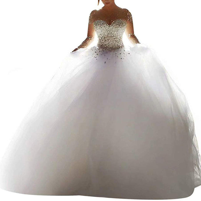 Luxury Wedding Gown Illusion Beaded Bridal Dress Tulle Round Neck