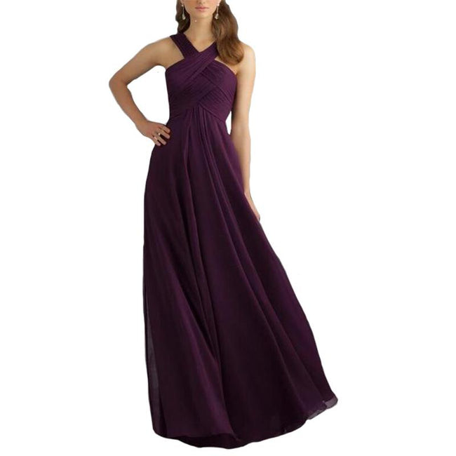 A Line Bridesmaid Dress Long Prom Evening Gown Pleated Long Sleeveless