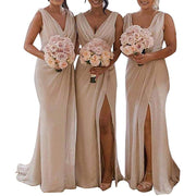 Slit Bridesmaid Dress Long Chiffon V Neck Beach Wedding Party Dress
