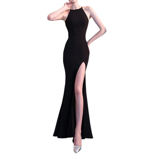 Elegant Evening Wedding Party Dresses Slit Front Spaghetti Straps