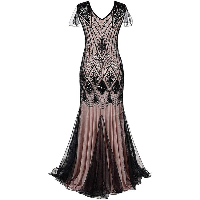 Women Vintage 1920S Cocktail Dress Mermaid Sequined Formal Gown