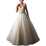 Backless Wedding Dress A Line Bridal Gown Strapless Long Train