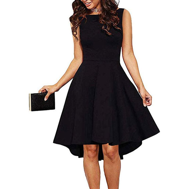 High Low Cocktail Party Dresses Sleeveless Swing Skater Dresses