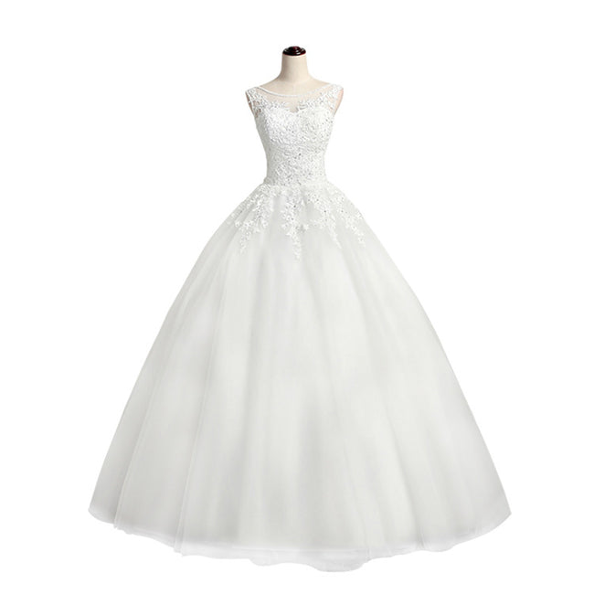 Princess Wedding Gown For Women A Line Sleeveless Floor Length