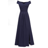 Split Evening Dress Off The Shoulder Short Sleeve Bridesmaid Dress