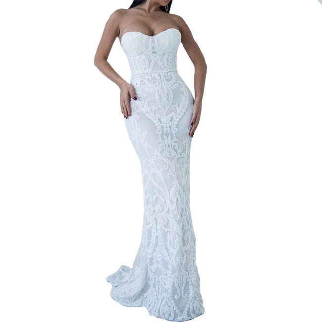 Strapless Sweetheart Mermaid Bridal Wedding Gowns Long Evening Gown