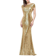 Mermaid Evening Prom Gown Sequined Bridesmaid Dress Short Sleeve Long Glitter