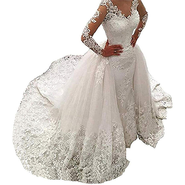 Wedding Gown With Detachable Train Bridal Dress Long Sleeve V Neck