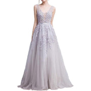 Long Evening Cocktail Gown Lace Applique Tulle Double V Neck