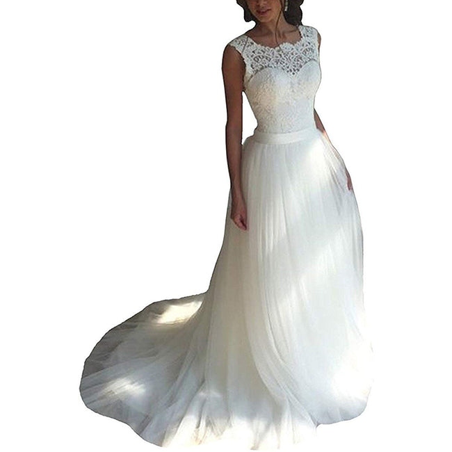 Boho Bridal Dress For Women Beach Wedding Gown A Line Sleeveless