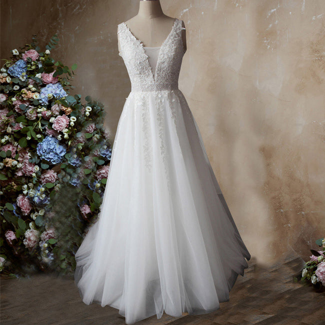 Princess Bridal Wedding Dress Beaded Sleeveless Evening Gown