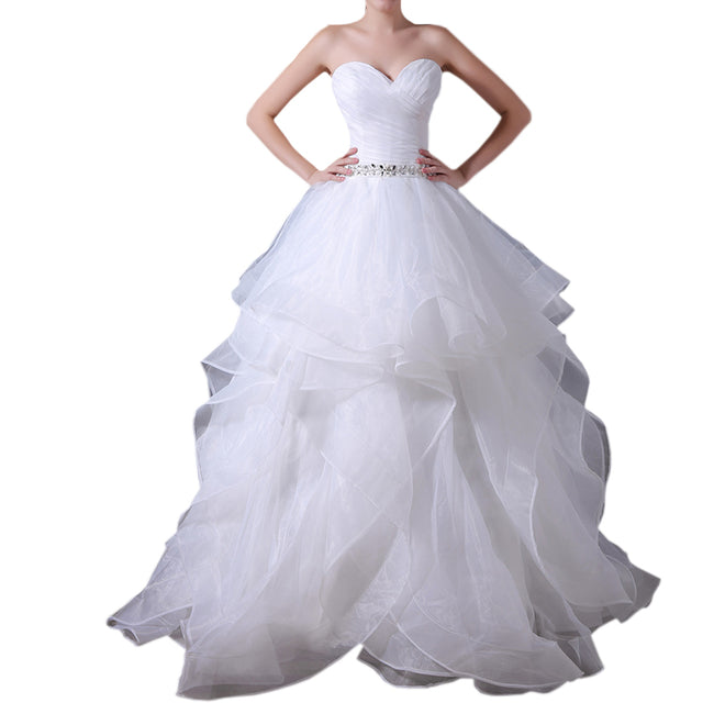 Strapless Wedding Gown For Bride Ruffled Bride Dress A Line Floor Length