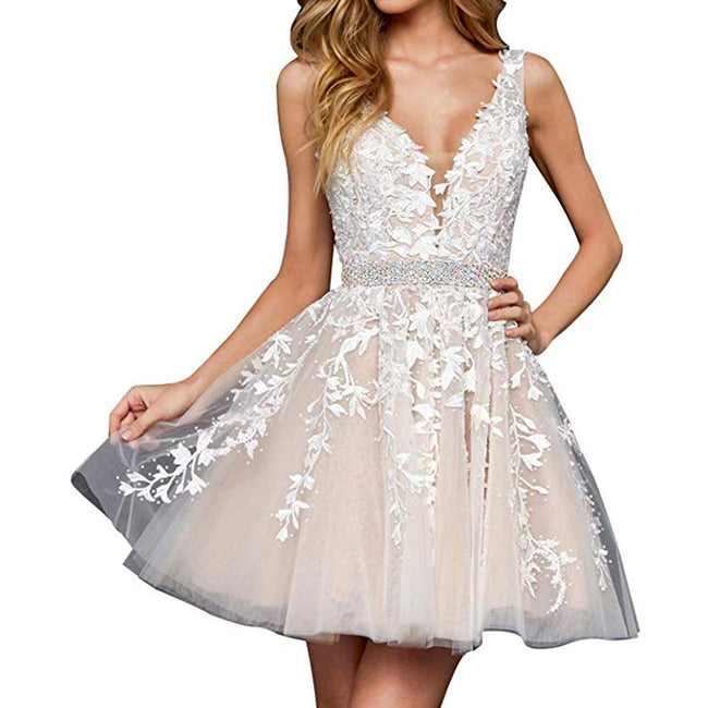 Women's Wedding Gown For Bride Short Evening Gown Applique Strap