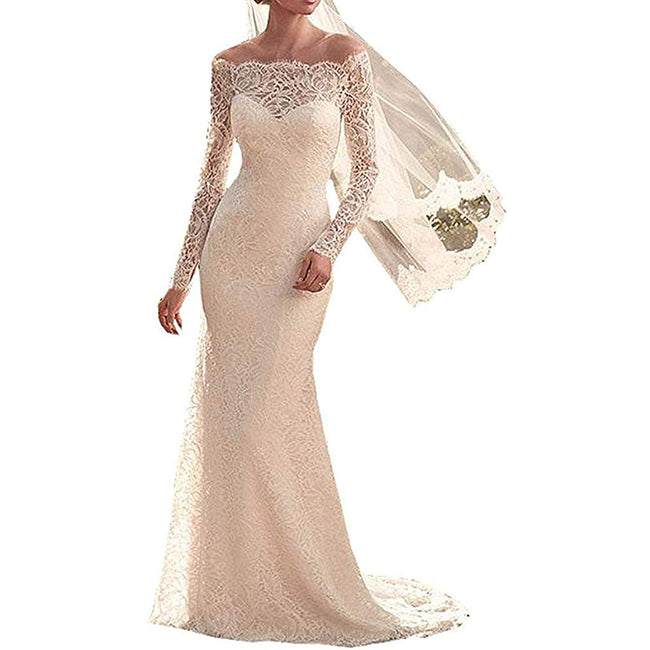 Mermaid Wedding Dress Long Sleeve Lace Court Train Bridal Gown