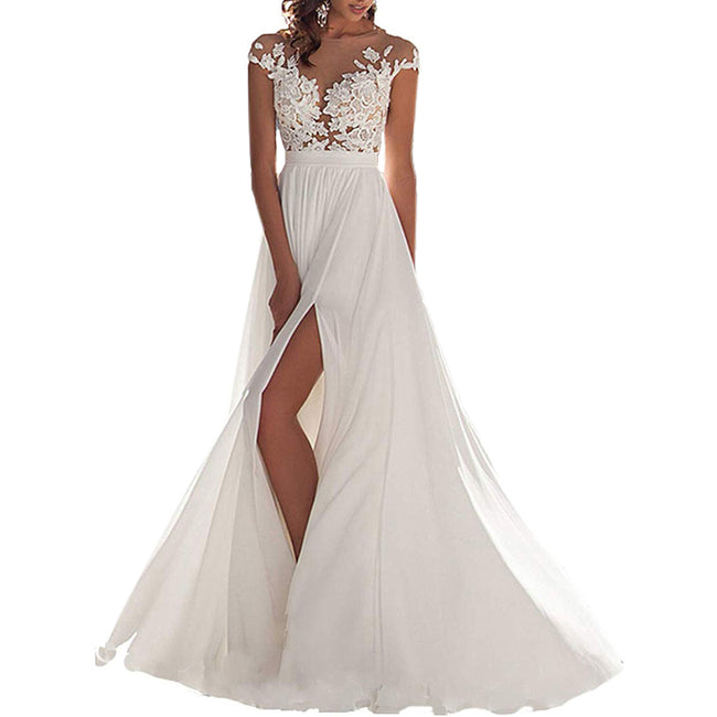 A Line Bridal Gown For Bride Slit Front Long Tail Wedding Gown