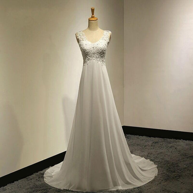 Wedding Gown For Bride Elegant A Line Evening Dress With Applique