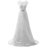 Vintage Wedding Gown For Bride Elegant A Line Lace Applique Beaded