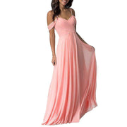 Wedding Bridesmaid Dress For Women Cold Shoulder Chiffon Long Pleated