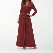 Womens Semi Formal Pleated Maxi Dresses Long Sleeve A Line V Neck