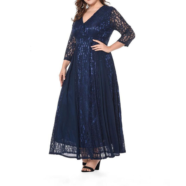 Plus Size Wedding Maxi Dress Floral Lace 3/4 Sleeve Floor Length