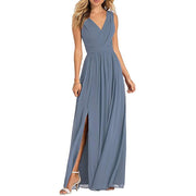 Slit Bridesmaid Dress Chiffon Long Evening Prom Dress A Line V Neck Ruched