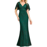Mermaid Trumpet Evening Party Dress Short Sleeve V Neck Floor Length