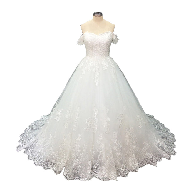 A Line Bridal Gown Plus Size Wedding Gown Off The Shoulder Short Sleeve