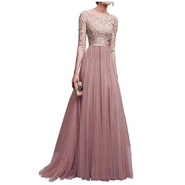 Princess Evening Dress Lace Tulle Elbow Sleeve Empire Waist Floor Length