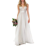 Wedding Gown For Bride A Line Beaded Sleeveless Long Bridal Dress
