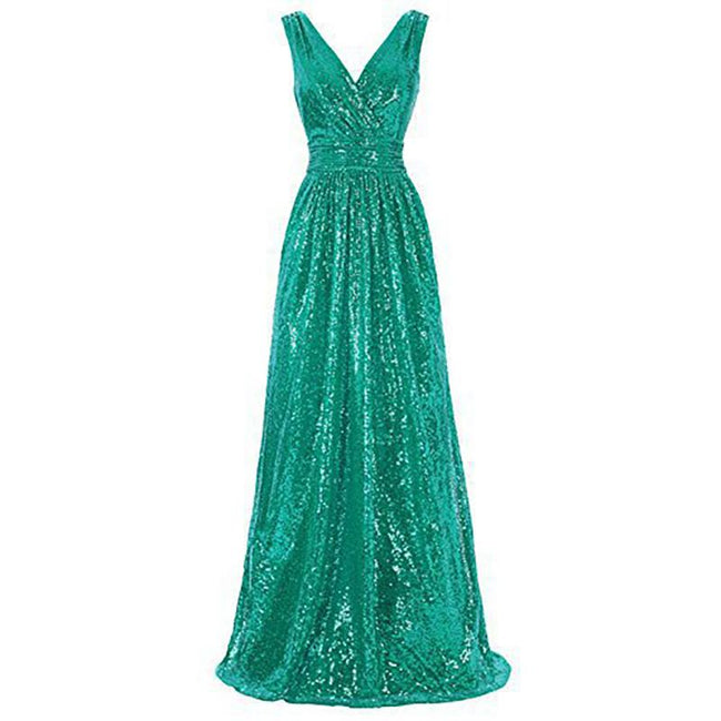 Sequined Evening Gown Maxi Prom Dresses Long Bridesmaid Dresses