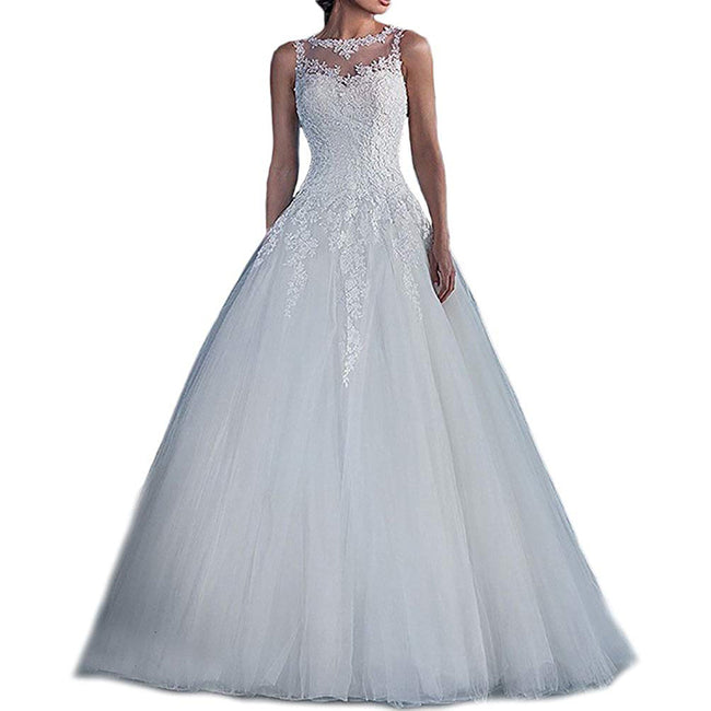 Bridal Wedding Gown Lace Tulle Boat Neck Applique Long Train