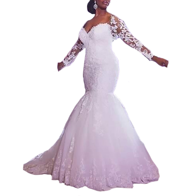 Long Sleeve Bridal Dress For Women Plus Size Mermaid Bridal Wedding Gown