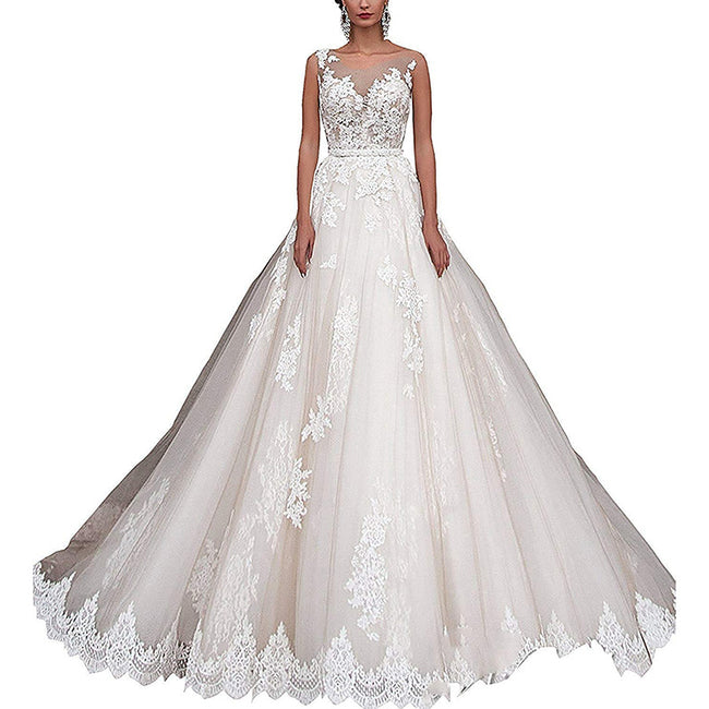 A Line Bridal Dress Sleeveless Lace Appliques Long Wedding Gown