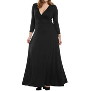 Wedding Bridal Party Maxi Dress Plus Size Long Sleeve V Neck