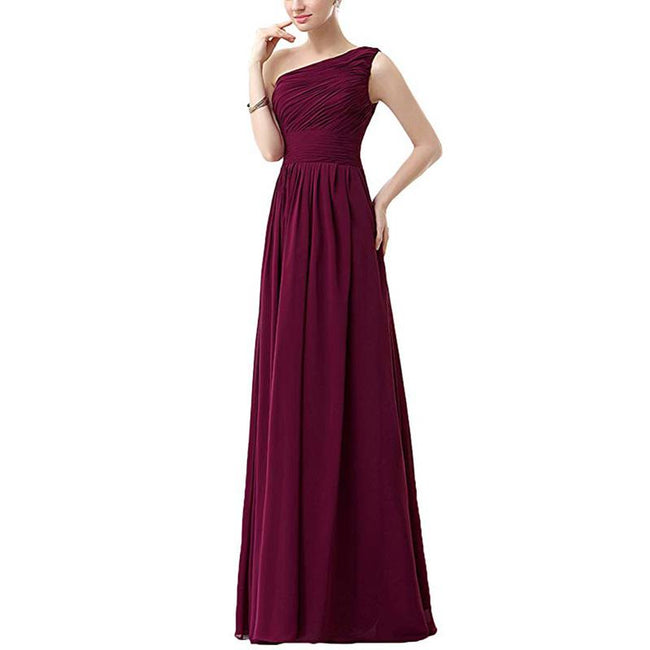 Princess Bridesmaid Dress Prom Gown One Shoulder Chiffon A Line Floor Length