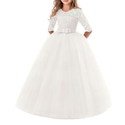 Princess Flower Girl Dresses Lace Pleated Long Sleeves Round Neck
