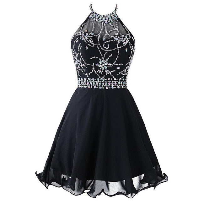 Short Beaded Bridesmaid Dress Halter Neck Backless Homecoming Prom Dress