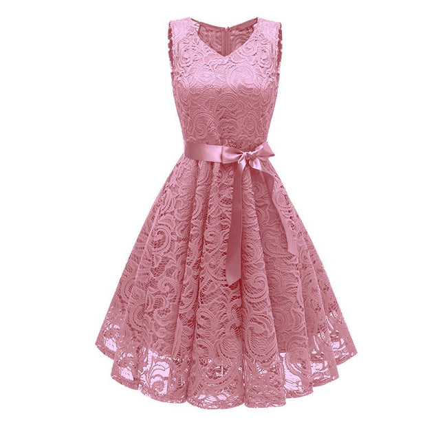 Floral Lace Bridesmaid Dress A Line Party Dress Short Swing Prom Dress