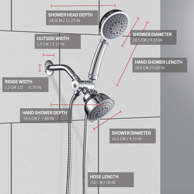 High Pressure Rain Showerhead 3-Way Rainfall Combo Showerhead