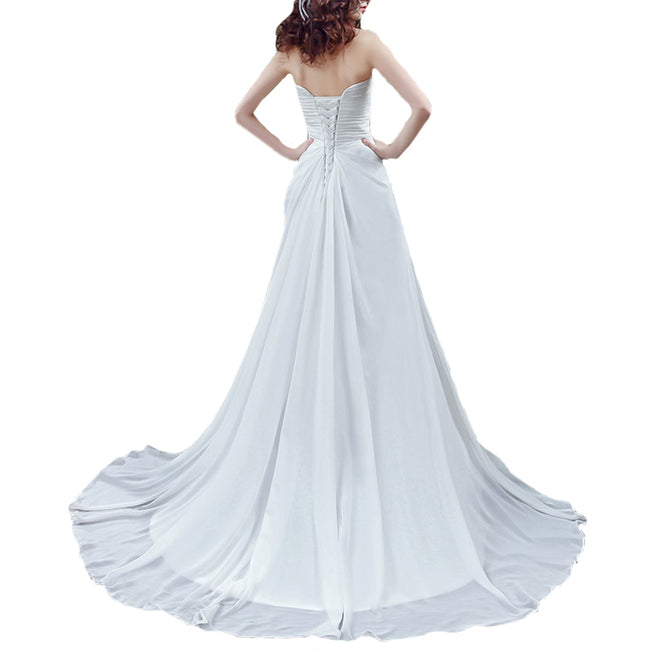 Strapless Wedding Gown A Line Long Bride Dress Court Train Beaded Sequins