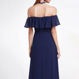 Off The Shoulder Party Dress Ruffle Side Split Maxi Bridesmaid Dress
