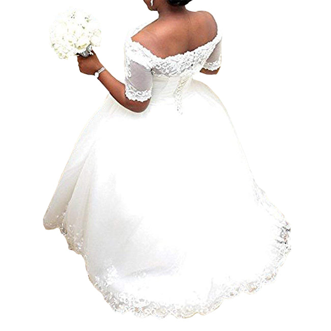 A Line Wedding Gown For Bride With Sleeves Plus Size Off The Shoulder