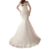 Trumpet Lace Wedding Gown Off The Shoulder Long Sleeve Bridal Dress